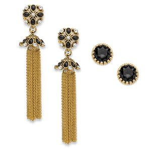 Crystal Gold Tone Earrings Set 3""